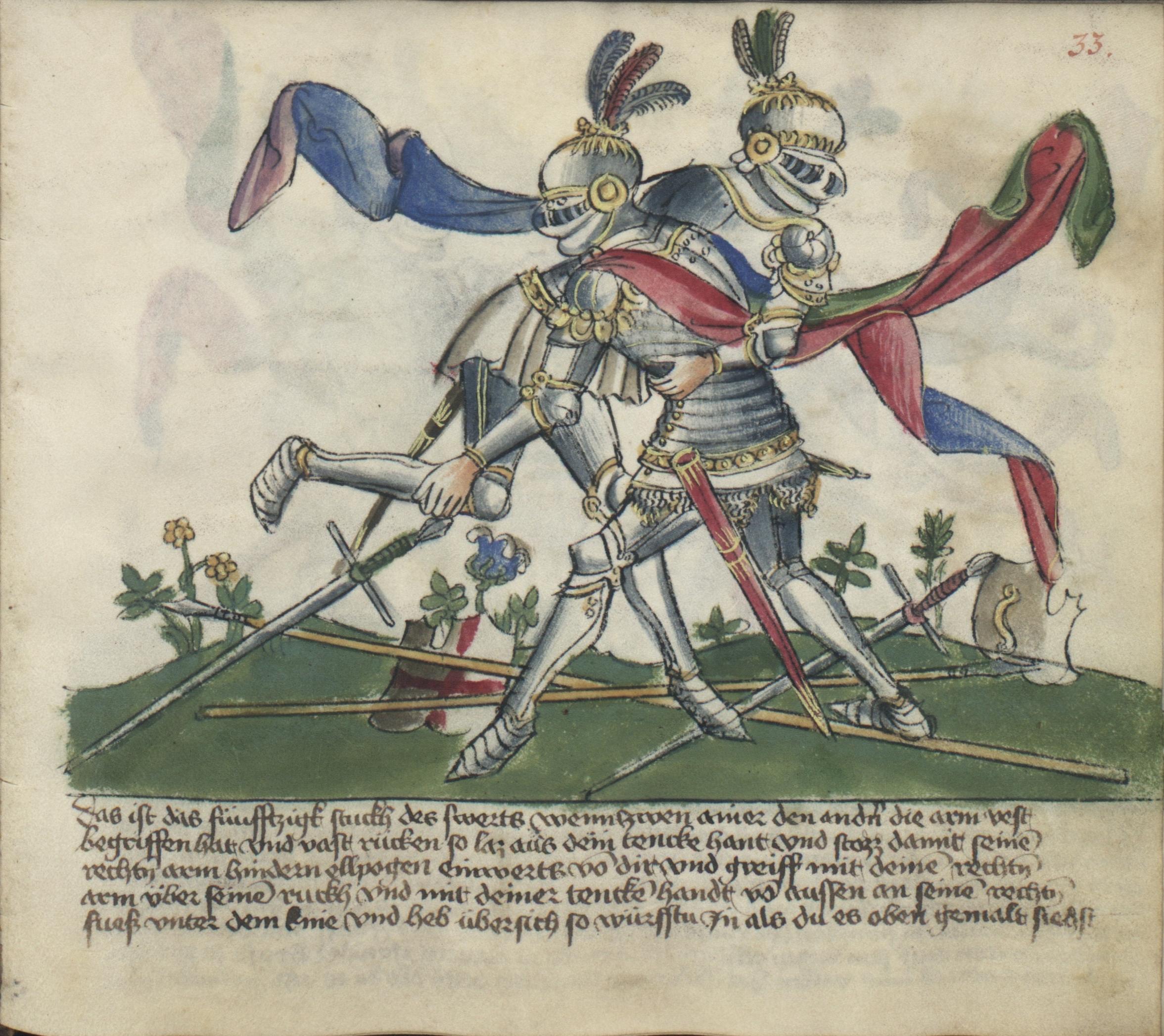 Spätmittelalterliche Fechtbücher zeigen den dynamischen Kampf in Plattenrüstung (Krakau, Biblioteka Jagiellońska, MS Germ.Quart.16, fol. 33r).