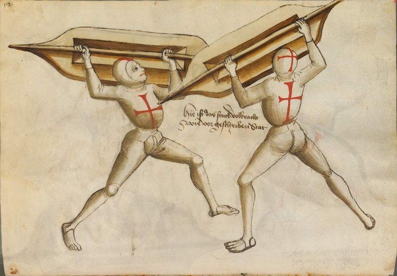 Talhoffer - 1467 : L'art de la guerre & des duels judiciaires par un maître visionnaire. 800px-Cod.icon._394a_57v